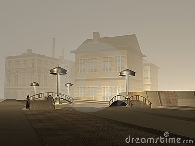 Scena scura della città