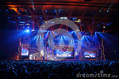 Scene with big display during concert Editorial Photo