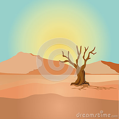 Scene with dried tree in desert field illustration Vector Illustration