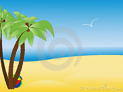 Scene with empty tropical beach, palm trees