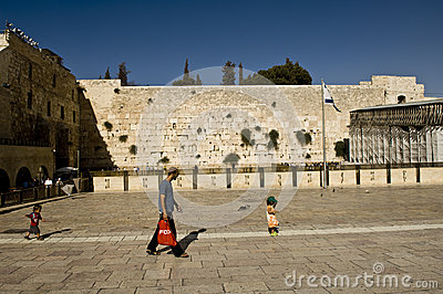 A scene in front of the western wall, jerusalem, Editorial Stock Image