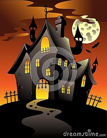 Scene with Halloween mansion 1