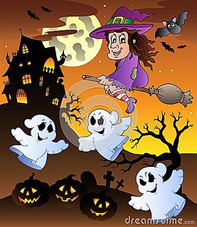 Scene with Halloween mansion 5
