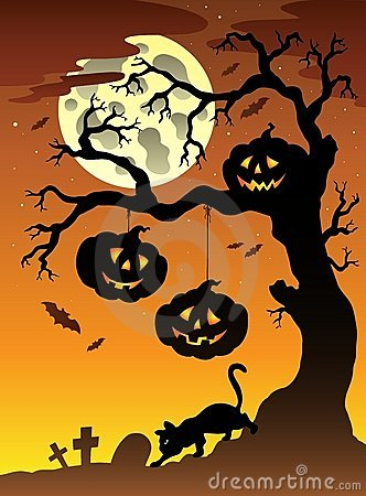 Scene with Halloween tree 2