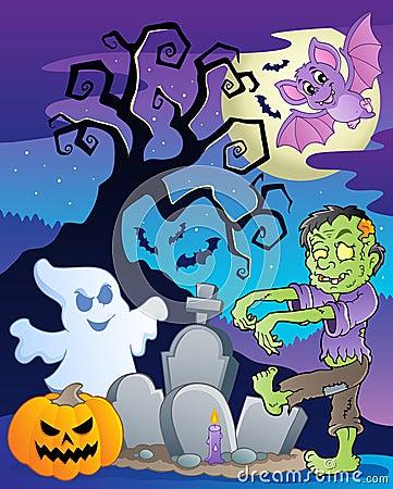 Scene with Halloween tree