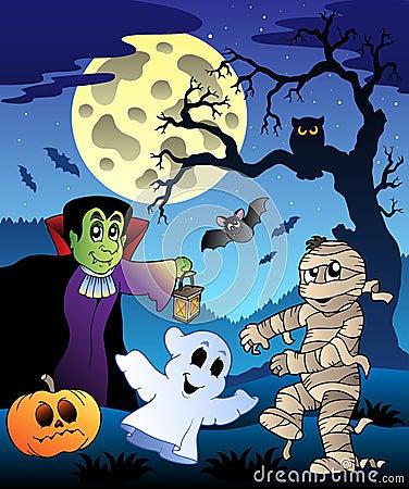 Scene with Halloween tree 4