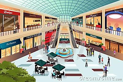 scene inside shopping mall stock vector image 43847882