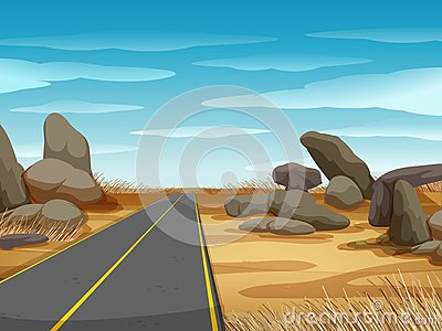 Scene with road in the dryland Vector Illustration