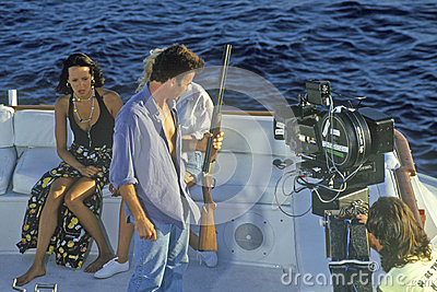 Scene from set of  Temptation  on yacht Editorial Stock Image