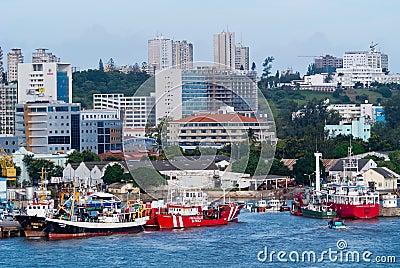 Scene of ships at Maputo Editorial Stock Image