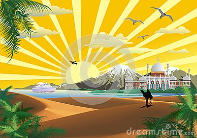 The Scenery, The Arab Palace On The Coast  Desert  Ship In
