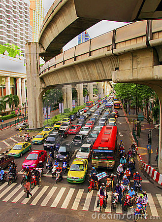Scenery of central streets of Bangkok Editorial Photography