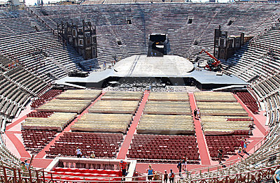 Scenery construction in old Verona Arena, Italy Editorial Image