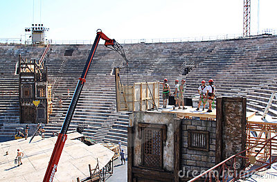 Scenery construction in the Verona Arena, Italy Editorial Stock Image