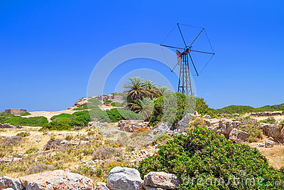 Scenery of Crete with windmill