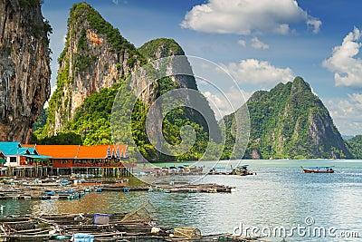 Scenery of Koh Panyee settlement built on stilts in Thailand