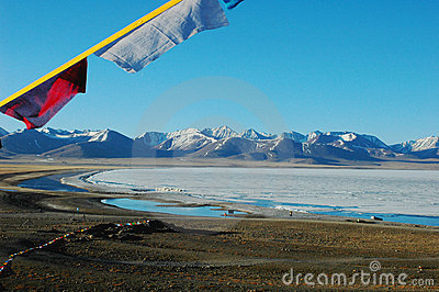 Scenery of lake and mountains with prayer flags