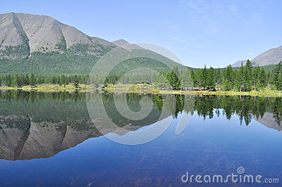 Scenery of the lake and reflections of mountains