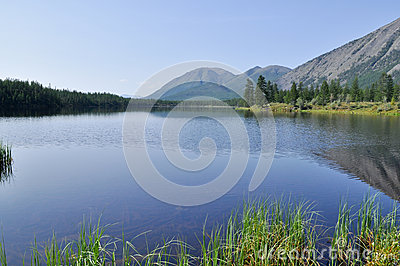 Scenery of lake and reflections of  mountains
