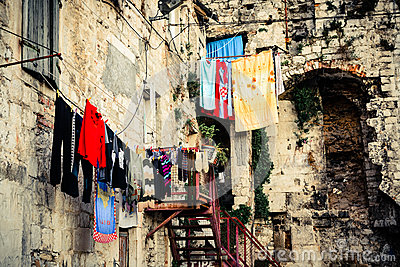 Scenery in old part of town showing laundry day