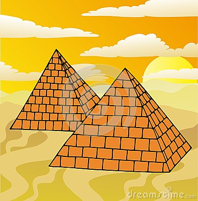 Scenery with pyramids
