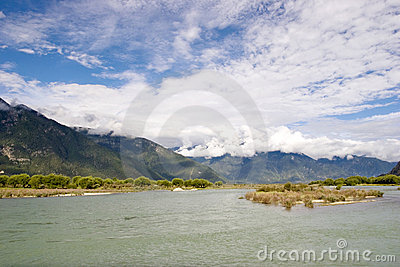 Scenery of river and mountain