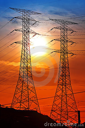 Scenery of silhouetted electrical tower