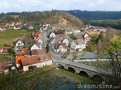 Scenery of small European town beside the river