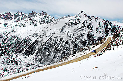 Scenery of snow mountains
