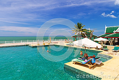 Scenery of swimming pool at Andaman Princess Resort & SPA Editorial Photo