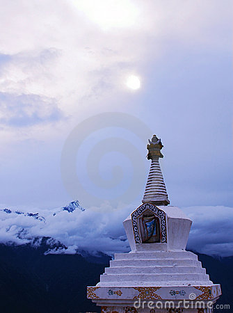 Scenery of white pagoda in a lamasery
