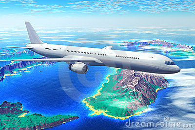Scenic airliner flight over the ocean