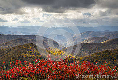 Scenic Autumn Blue Ridge Parkway Fall Foliage Crepuscular Light Rays