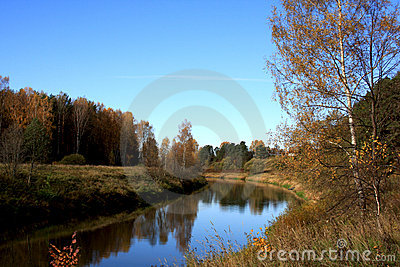Scenic autumn river