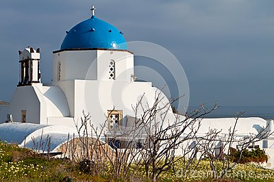 Scenic church at Santorini island, Greece