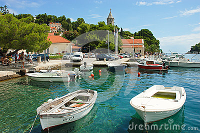 Scenic harbour of Luka Bay, Cavtat, Croatia Editorial Stock Image