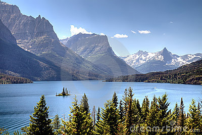 Scenic lake and mountains