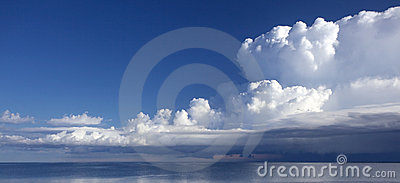 A scenic lake view with puffy clouds