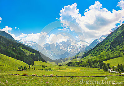 Scenic landscape in the Alps in Salzburg, Austria