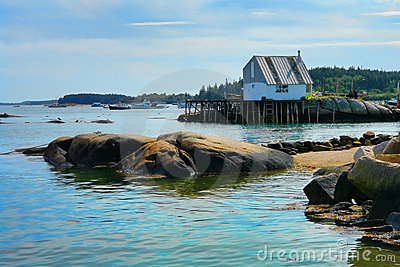 Scenic Maine Fishing Port with Picturesque Dock