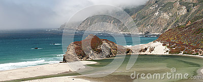 Scenic coastline and mountains