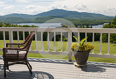 Scenic mountain house deck