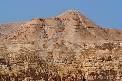 Scenic mountain in stone desert