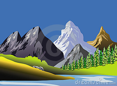 Scenic Mountaineous Landscape Art