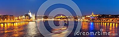 Scenic night panorama of Budapest, Hungary
