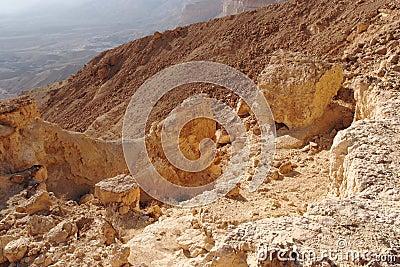 Scenic orange rocks in desert canyon