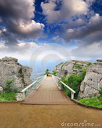 Scenic park wooden bridge