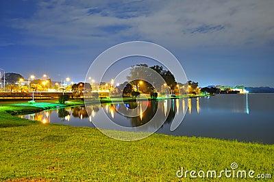 Scenic peaceful night at Lower Seletar Reservoir