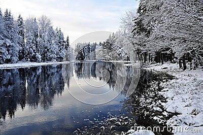 Scenic river in winter