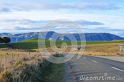 Scenic road with mountain ridges